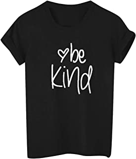 Ladies Letter Be Kind Print Short Sleeve T-Shirt Solid Color Round Neck Top Tee