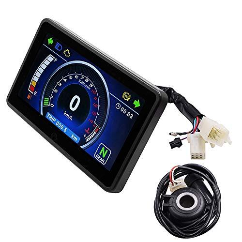 Nrpfell Universal Motorrad Vollfarb LCD Display Multifunktion Kombiinstrument Austauschbare 12V Digital Tacho Display Instrument (Farbe: Schwarz)