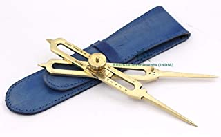 """Roorkee Instruments India Proportional Scale Divider Drawing Tool Professional 6"""" Full Brass with Blue Leather Case"""