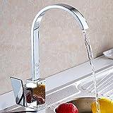 Rubinetto miscelatore monocomando per lavello da cucina, con bocca girevole in ottone cromato, a forma di cascata monoblocco