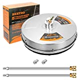 BEETRO 15 inch Pressure Washer Surface Cleaner with Stainless Steel Housing, 4000 PSI Surface Cleaner with 2 Replacement Nozzles and 2 Extension Wands for Driveway, Deck Cleaning
