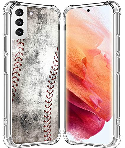 S21 Case/IWONE Designer Rubber Durable Protective Skin Transparent Cover Shockproof Compatible with Samsung Galaxy S21 5G Creative Vintage Baseball Art Printing