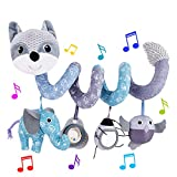 HILENBO Car Seat Toys, Infant Baby Gray Fox Plush Spiral Activity Hanging Toys for Stroller Crib Bar Bassinet Car Seat Mobile with Music Box BB Squeaker and Rattles(Gray)