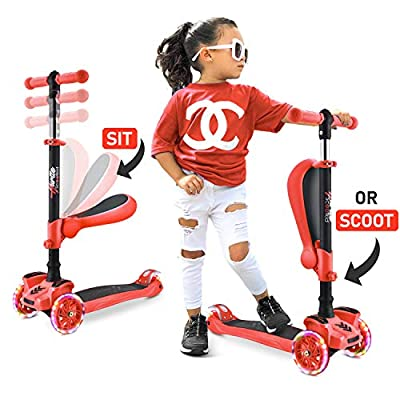 Hurtle 3 Wheeled Scooter for Kids - Stand & Cruise Child/Toddlers Toy Folding Kick Scooters w/Adjustable Height, Anti-Slip Deck, Flashing Wheel Lights, for Boys/Girls 2-12 Year Old HURFS38R (Red)