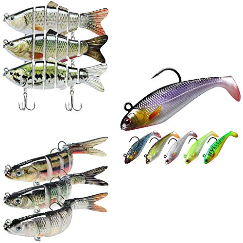 TRUSCEND Fishing Lures for Bass 2.8'-5.4' Swimbaits Freshwater Bass Fishing Lures Kits Combination