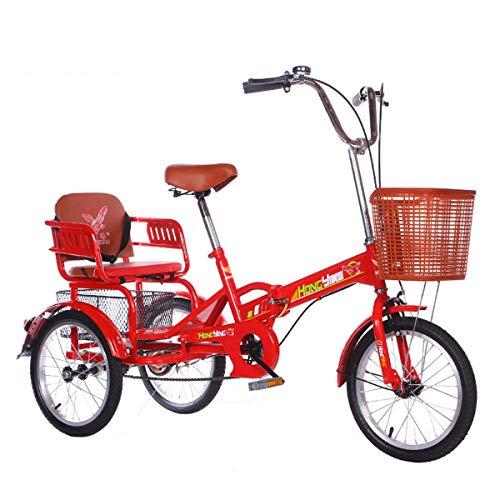 ZFF Mini Triciclo para Adultos Plegable con Cesta Y Asiento Trasero 16 Pulgadas Bicicleta De 3 Ruedas para Hombres Mujeres Recreación Compras Ejercicio Rojo