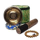 "Yippee 4"" Tibetan Brass Singing Bowl Set With Bronze Mantra Design Meditation Chime"