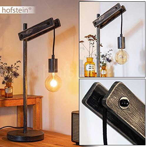 Tafellamp Aarhus donker houten touw metaal zwart retro bureaulamp met kabelschakelaar voor 1 x E27 max. 60 watt, geschikt voor LED-lampen