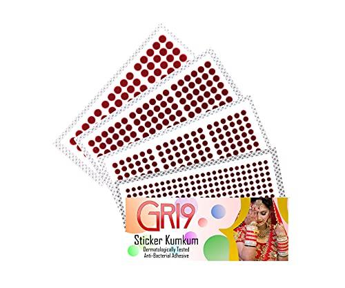 GRI9 Velvet Round Dot Bindi Tattoo Sticker Indian Multi Size Daily Use Forehead Bindis Adhesive Body Jewelry (Dark Red ( Maroon ))