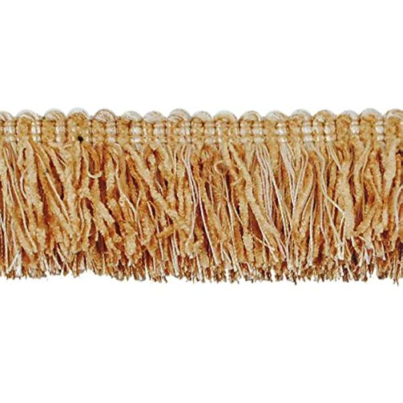 Expo International Chenille Fiber Brush Fringe Trim Embellishment, 20-Yard, Beige/Gold