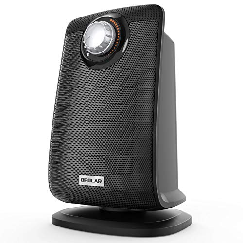 OPOLAR LB5305P Space Ceramic Bathroom Heater with IP21 Water-Proof for Home & Office, Fast Heating & Auto Oscillation, Portable, Adjustable Thermostat, 1500W, Black