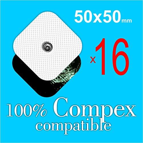 TENSPAD SILVER 16 Wiederverwendbare Elektroden für Compex 50x50mm mit 1 SNAP