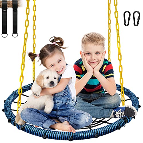 KKTour 40inch Spider Web Flying Tree Swing Kids and Adults Outdoor Portable Swings Seat with 4pcs Heavy Duty Chains and 1000 lb Adjustable Tree Hanging Straps (Blue)