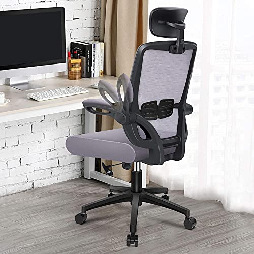 Engber Ergonomic Office Chair Home - Computer Desk Chairs Lumbar Support, Mesh High-Back Task Chair with Flit-up Arms and Height Adjustable Design