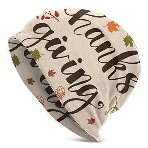 XCNGG Acción de Gracias Soft Slouchy Beanie Sombreros Gorra de Calavera Holgada Larga Diaria - Hombres y Mujeres