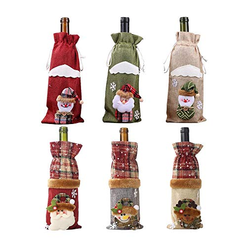 Vaorwne 6 Pcs Christmas Wine Bottle Cover Bag,Snowman,Santa Claus,for Christmas Party New Year Dinner Decoration Xmas Gift