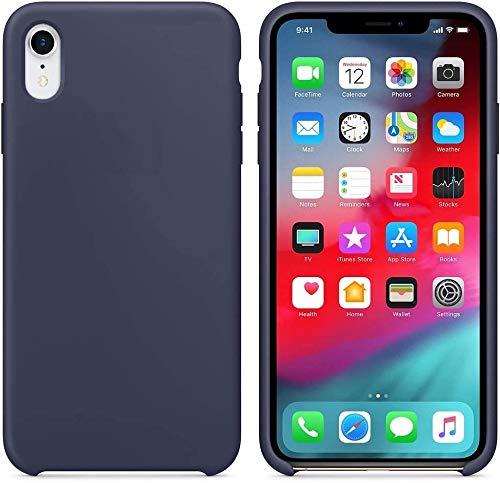 Funda de Silicona Silicone Case para iPhone XR, Tacto Sedoso Suave, Carcasa Anti Golpes Duradera y Resistente, Bumper, Forro de Microfibra, (Azul Noche)