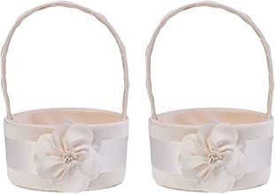Baoblaze 2pcs Fashion Chic Champagne Satin Flower Basket Bridesmaid Bridal Flower Girls Basket Wedding Ceremony Gift