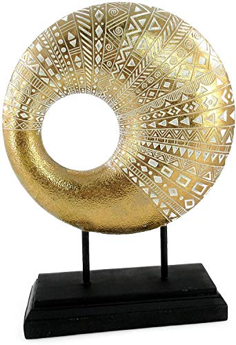 Lifestyle & More Escultura Moderna Figura Decorativa Hecha de Piedra Artificial sobre Base Blanca/Dorada Altura 37 cm Ancho 27.5 cm