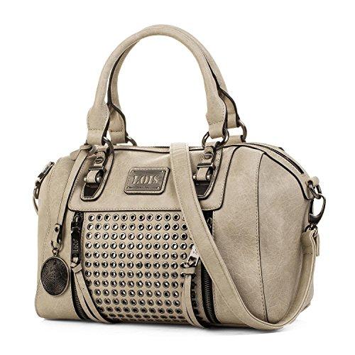 Lois - Handtasche für Damen. Bowling Bag. Schultertasche. Kunstleder PU und Nieten. Lässiges Design. Praktisch und Geräumig. 93131, Color Beig