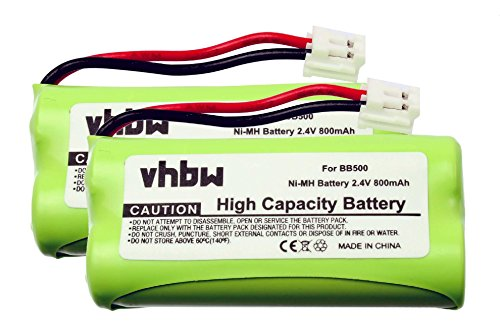 2 x vhbw Akku Set 800mAh für schnurlos Festnetz Telefon Binatone Big Button Combo 2 II wie BC102906, 87C, BT-34H, 60AAAH2BMJ, T377