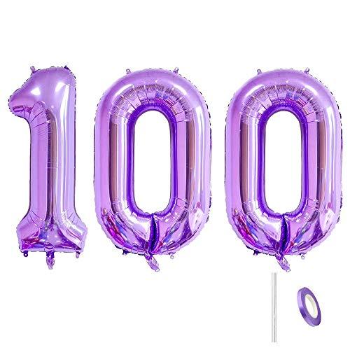 Ceqiny Globo de 100 números Mylar gigante globo globo alfabeto globo para fiesta de cumpleaños boda despedida de soltera, compromiso sesión de fotos, decoración de aniversario, dígitos morados 100
