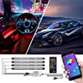cartaoo Interior Car Lights, Car LED Strip Light 4pcs 48 LED Car Ambient Light with APP Remote, Sync with Music, Strobe Model, Under Dash Lighting with USB Port DC 12V
