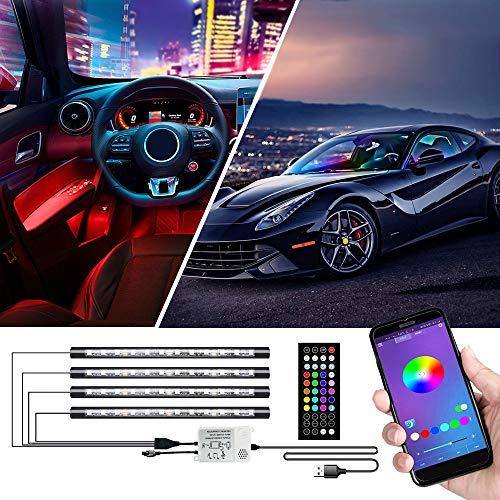 Innenbeleuchtung, Cartaoo Auto LED-Lichtleiste 4Stk. 48 LED Auto Umgebungslicht mit APP-Fernbedienung, Synchronisierung mit Musik, Strobe-Modell, Under Dash-Beleuchtung mit USB-Anschluss DC 12V