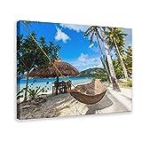 Hamaca tejida y palapa en la playa de la isla de Palawan, Filipinas, póster de lienzo para decoración de pared, cuadro para sala de estar, dormitorio, marco de decoración de 60 x 90 cm