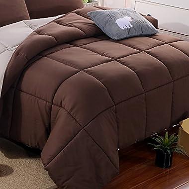 Microfiber Comforter Queen Size All-Season Light-Warmth Double colors-Coffee/Khaki