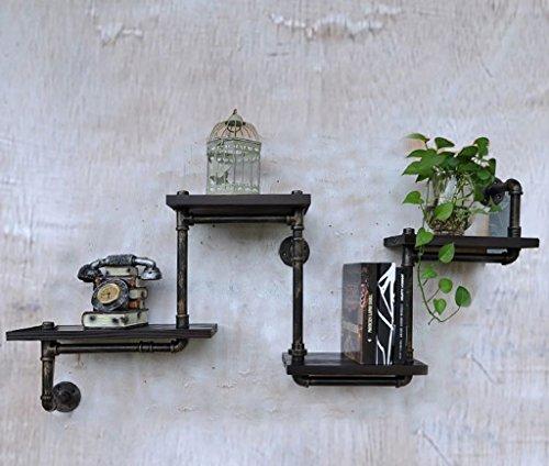 Wandplanken Loft Industriële Retro Meubilair Boekenkast Water Pijp Iron Frame Racks Creatieve Display Planken(120 * 20 * 55cm) Muurdecoraties