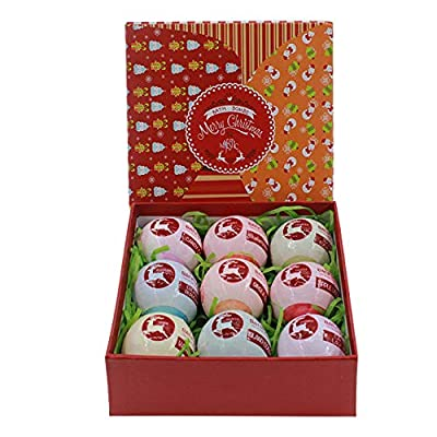 Bath Bombs - Christmas Reindeer - Set of 9 different fragrances fizzing into a colorful experience in a Decorated Gift Box