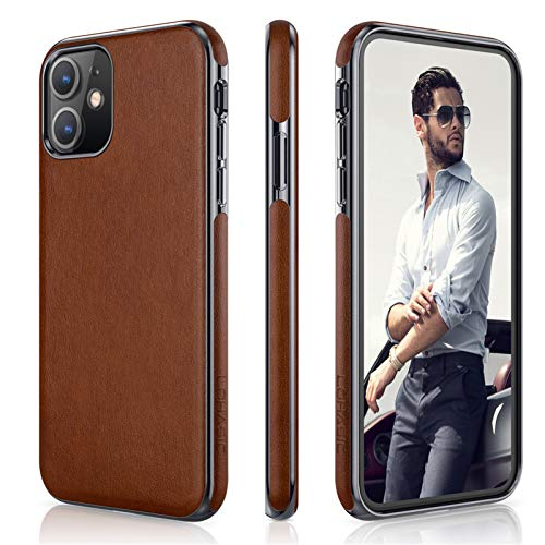 LOHASIC for iPhone 11 Case, Slim Business PU Leather Thin Elegant TPU Bumper Soft Anti-Slip Scratch Resistant Full Body Protective Phone Cover Cases Compatible with iPhone 11(2019) 6.1'- Brown