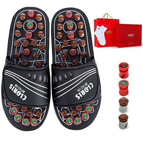 Cloris, pantofole da massaggio con pietre di giada e tormalina, massaggiatore per agopressione, per piedi, con un paio di calzini, per uomo e donna