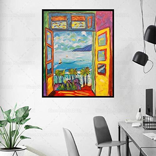 Wandkunst 40x50cm ohne Rahmen Matisse Berühmte Malerei Das offene Fenster in Collioure Leinwand Malerei Poster von Henri Matisse Wandkunst Dekor
