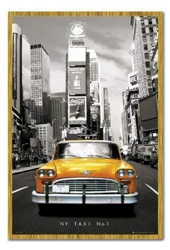New York Poster Yellow Taxi in Times Square Kork Pinnwand Eichenholz-Rahmen, 96,5x 66cm (ca. 96,5x 66cm)