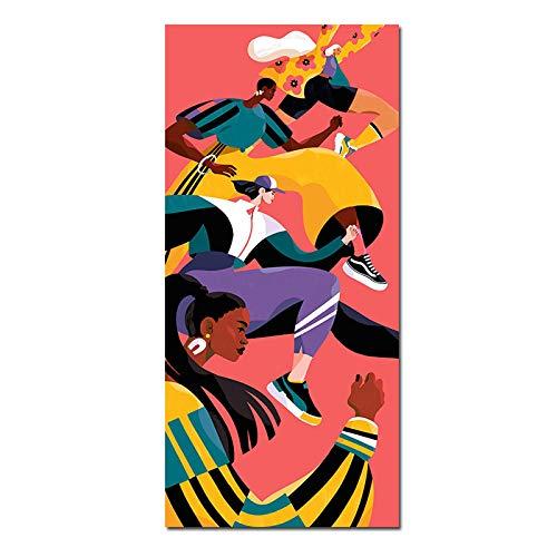 Nativeemie Bunte rennende Menschen Moderne Figur Leinwand Malerei Poster und Druck Wandkunst Wohnzimmer Dekoratives Zuhause für Dekor 20x40cm / 7,8