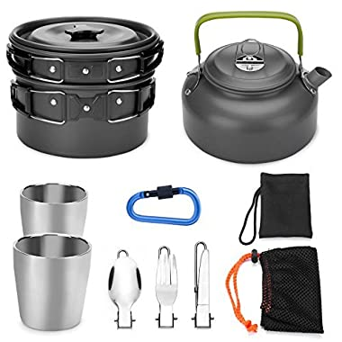 Odoland 10pcs Camping Cookware Mess Kit, Lightweight Pot Pan Kettle with 2 Cups, Fork Knife Spoon Kit for Backpacking, Outdoor Camping Hiking and Picnic