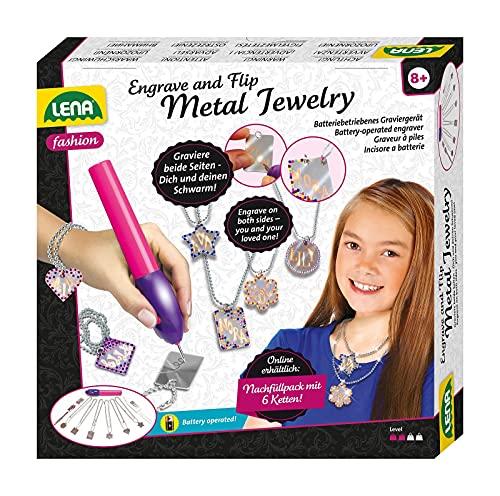 Lena 42655 Engraver's Jewelry Studio, Schmuckstudio, Gravurstudio für Kinder ab 9 Jahre, Set mit batteriebetriebenen Gravierer, Leim, 800 Strassjuwelen und 6 Metallanhänger mit Ketten, Silber