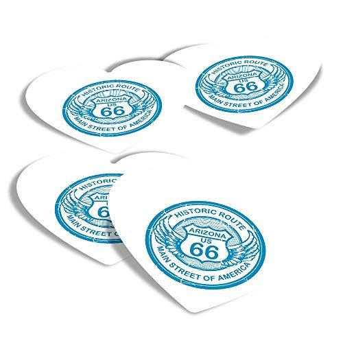 Adesivi in vinile a forma di cuore, set di 4 pezzi, Arizona Route 66 Tour America USA Fun Decalcomanie per computer portatili, tablet, bagagli, libri di rottami, frigoriferi #5744