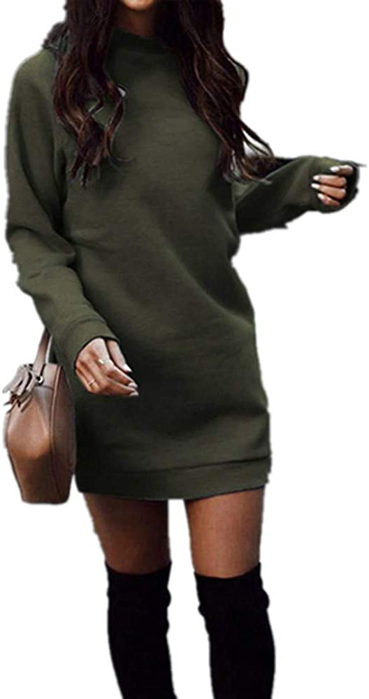 Xuan2Xuan3 Women's Fleece Long Sweatshirt Dress Crewneck Pullover Casual Long Sleeve Bodycon Mini Sweater Dress