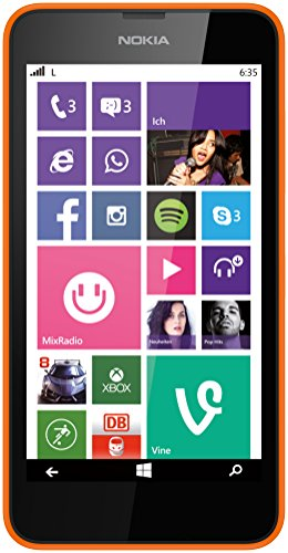 "Nokia Lumia 635 - Smartphone libre Windows Phone (pantalla 4.5"", 8 GB, 1.2 GHz, Qualcomm Snapdragon, 512 MB), naranja"