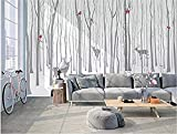 ZZXIAO Rollo de los papeles de pared de la decoración del arte del papel de pared del alce para el dormitorio animal de l Decoración Fotomural sala Pared Pintado Papel tapiz no tejido-350cm×256cm