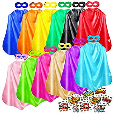 AIMIKE Superhero Capes, Bulk Pack for Kids Party, DIY Dress Up Superhero Costume, 12 Colors Sets with Superhero Stickers
