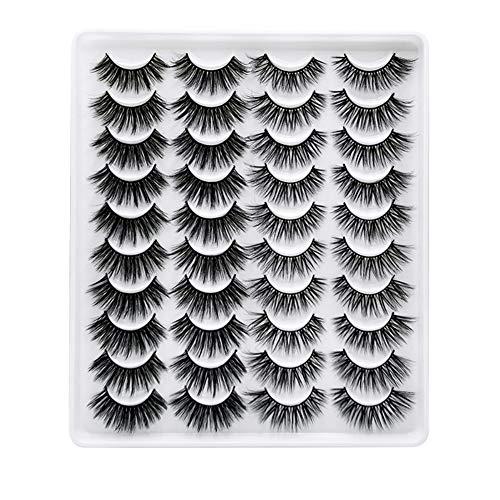 Greatlizard 20 Paare Falsche Wimpern GefäLschte Wimpern Lange, Dicke, Lockige, Dramatische, NatüRliche Volumen-WimpernverläNgerung 3d-Make-Up-Kit