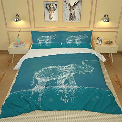 SMXSSJT Linge De Lit Éléphant d'eau 3 Pièces Housse De Couette Microfibre Confortable Ensemble De Chambre À Coucher Lit Imprimé Taies d'oreiller.