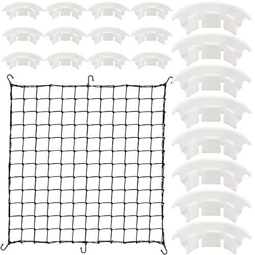 Grow Netting and 20 Pieces Plant Bender Set Flexible Net Trellis for Grow Plant Tent Elastic Trellis Netting with Hooks Plant Growing Net for Garden Balcony Yard Plants (4 x 4 Feet Net, 1.6 Inch Clip)