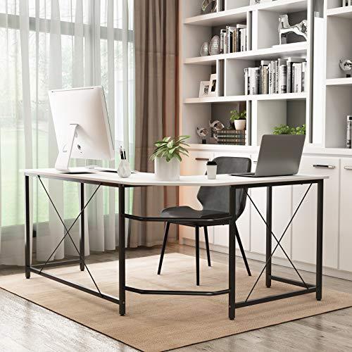 DlandHome Computertisch Eckschreibtisch Winkelschreibtisch L-förmig, großer Gaming Schreibtisch Arbeitstisch Bürotisch PC Laptop Studie Tisch Nussbaum,Weiß