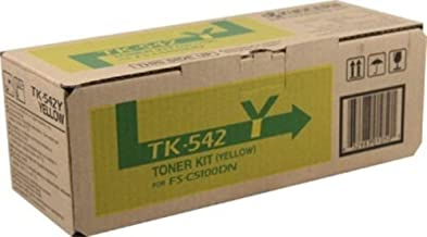 Kyocera 1T02HLAUS0 Model TK-542Y Yellow Toner Cartridge For use with Kyocera FS-C5100DN Color Network Laser Printer, Up to 4000 Pages Yield at 5% Average Coverage