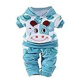 Kobay Neugeborene Baby Mädchen Jungen Cartoon Kuh warm Outfits Kleidung Samt mit Kapuze Tops Set...